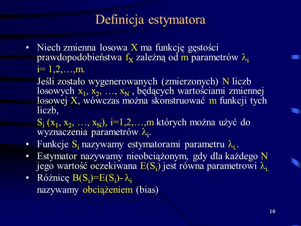 Definicja estymatora Niech zmienna losowa X ma funkcję gęstości prawdopodobieństwa fX zależną od m parametrów i.