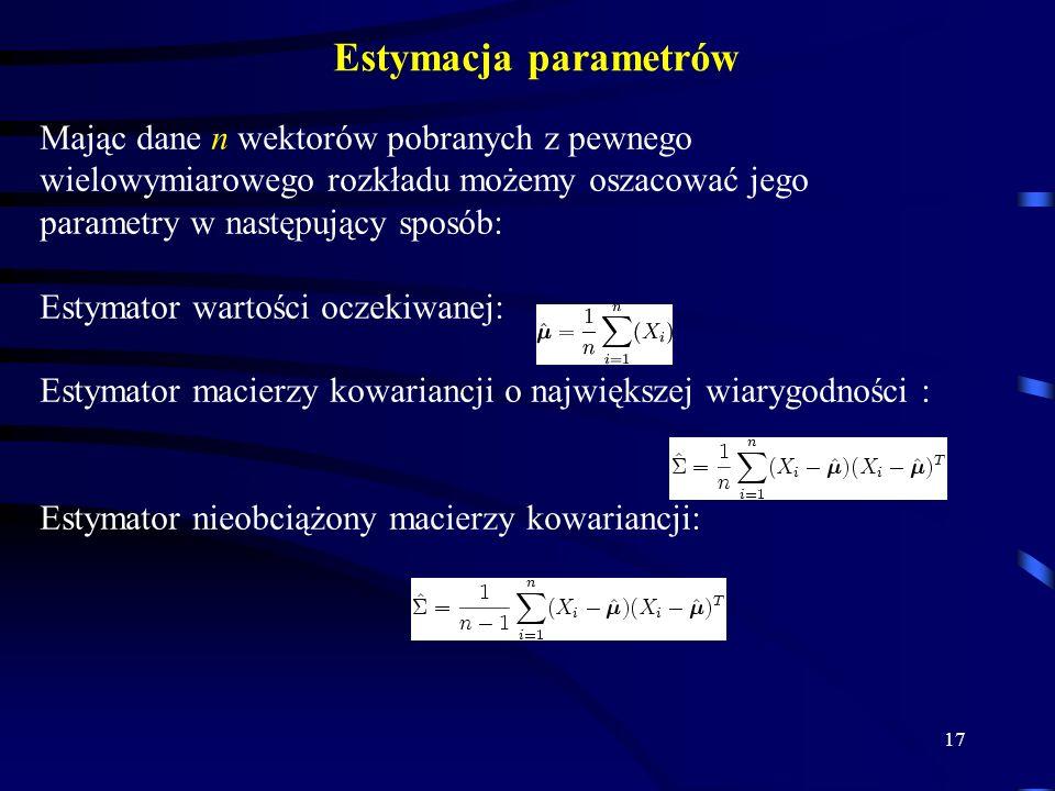 Estymacja parametrów Mając dane n wektorów pobranych z pewnego wielowymiarowego rozkładu możemy oszacować jego parametry w następujący sposób:
