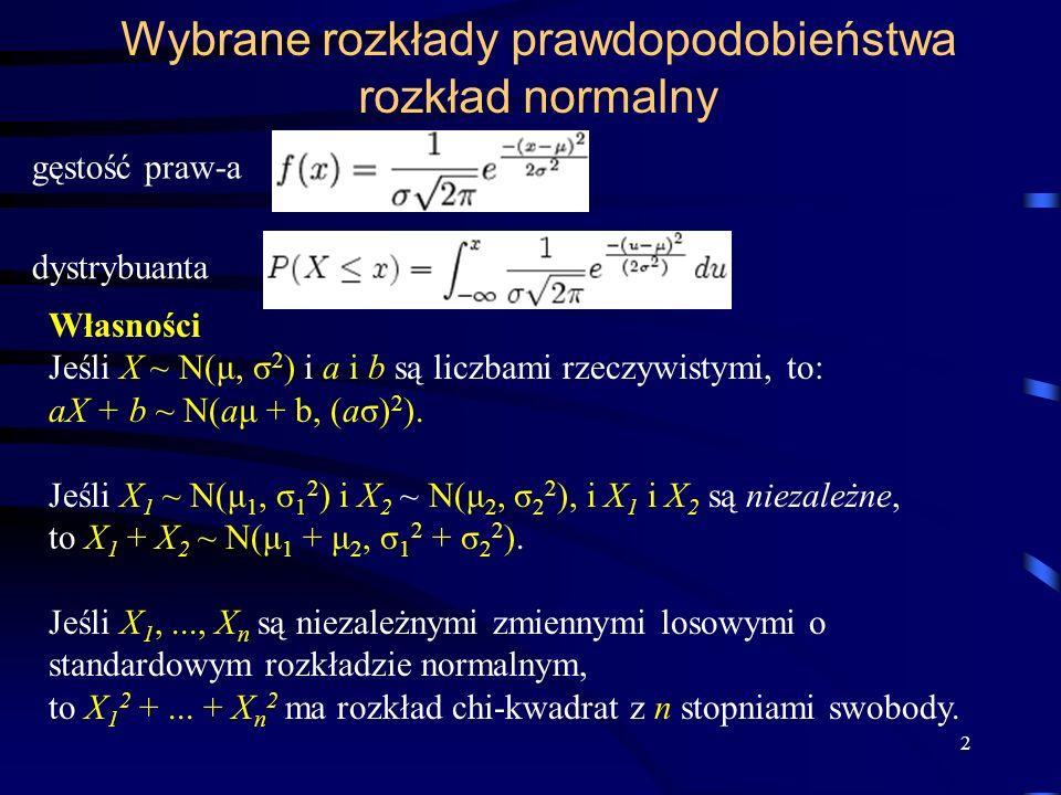 Wybrane rozkłady prawdopodobieństwa rozkład normalny