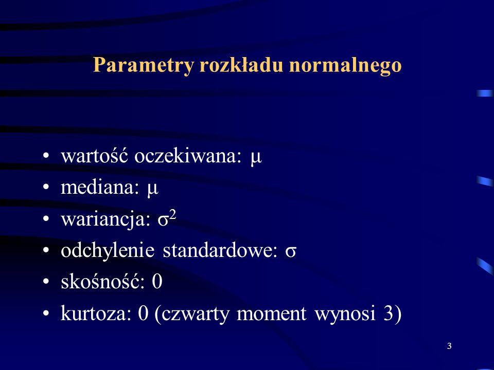 Parametry rozkładu normalnego