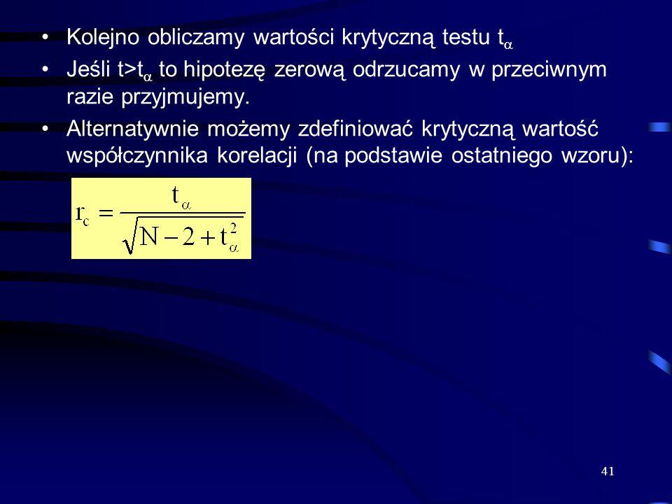 Kolejno obliczamy wartości krytyczną testu t