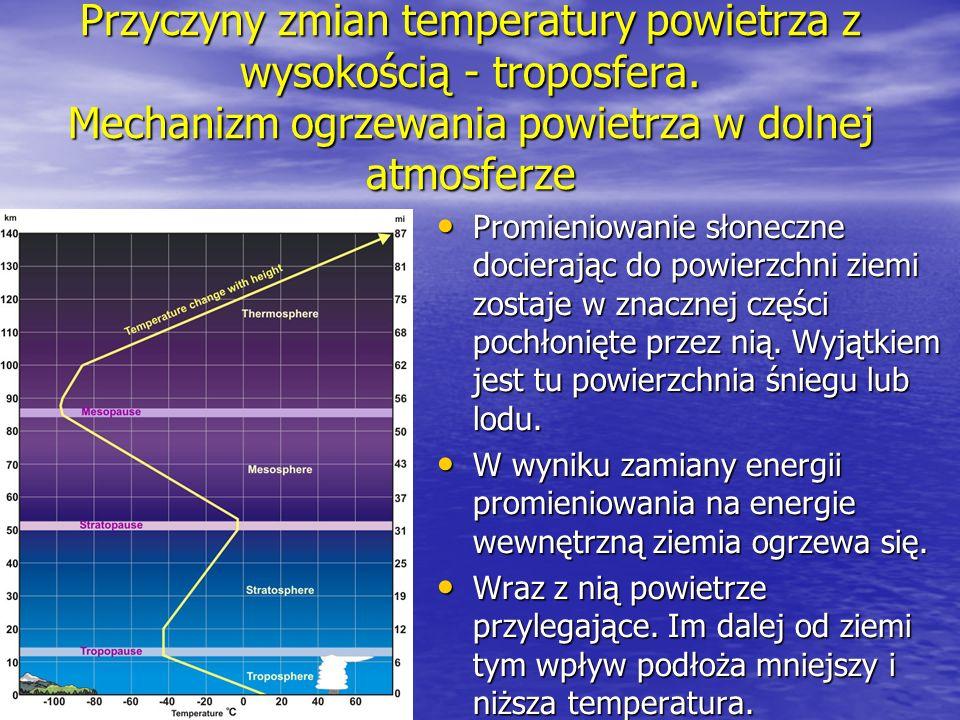 Przyczyny zmian temperatury powietrza z wysokością - troposfera