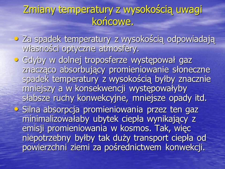 Zmiany temperatury z wysokością uwagi końcowe.