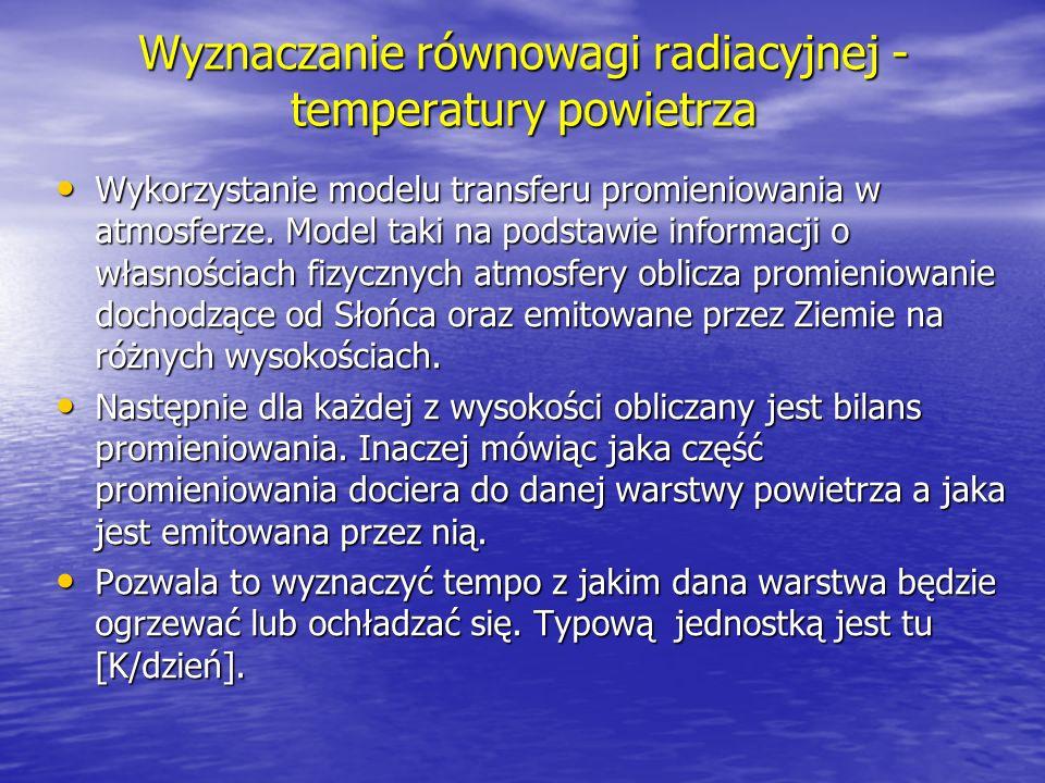 Wyznaczanie równowagi radiacyjnej - temperatury powietrza