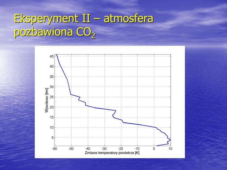 Eksperyment II – atmosfera pozbawiona CO2
