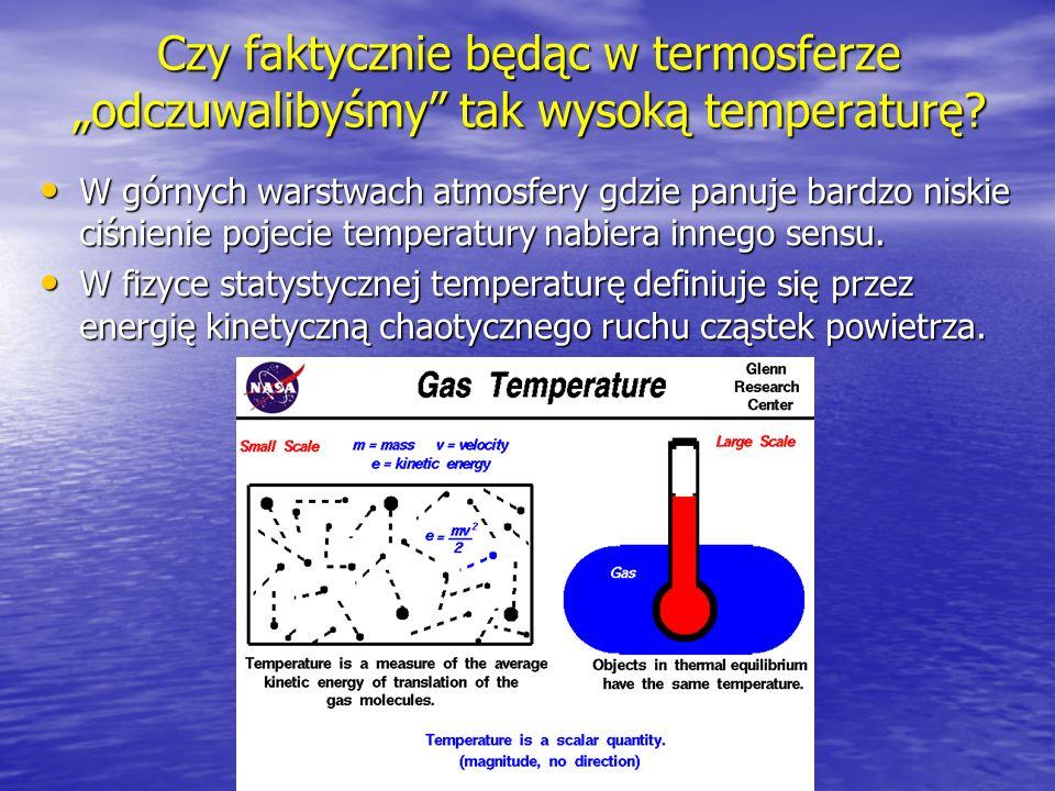 """Czy faktycznie będąc w termosferze """"odczuwalibyśmy tak wysoką temperaturę"""
