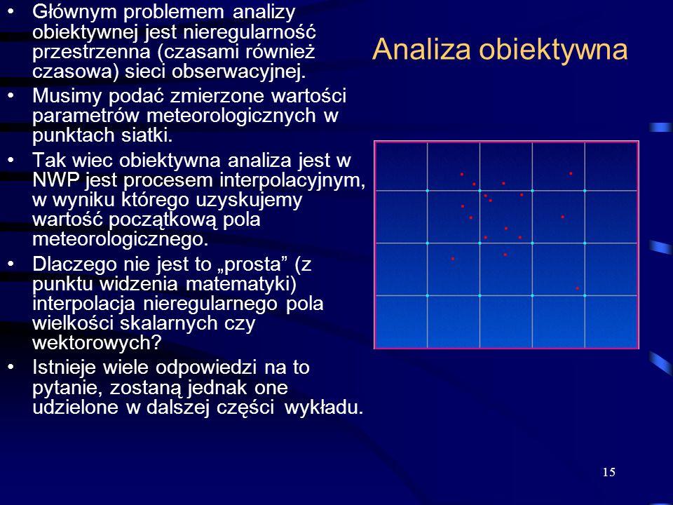 Głównym problemem analizy obiektywnej jest nieregularność przestrzenna (czasami również czasowa) sieci obserwacyjnej.