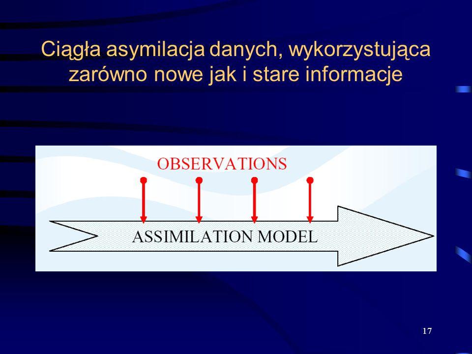 Ciągła asymilacja danych, wykorzystująca zarówno nowe jak i stare informacje