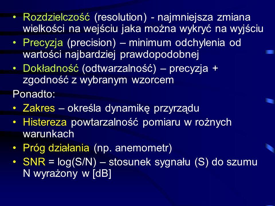 Rozdzielczość (resolution) - najmniejsza zmiana wielkości na wejściu jaka można wykryć na wyjściu