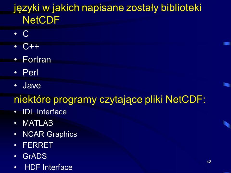 języki w jakich napisane zostały biblioteki NetCDF