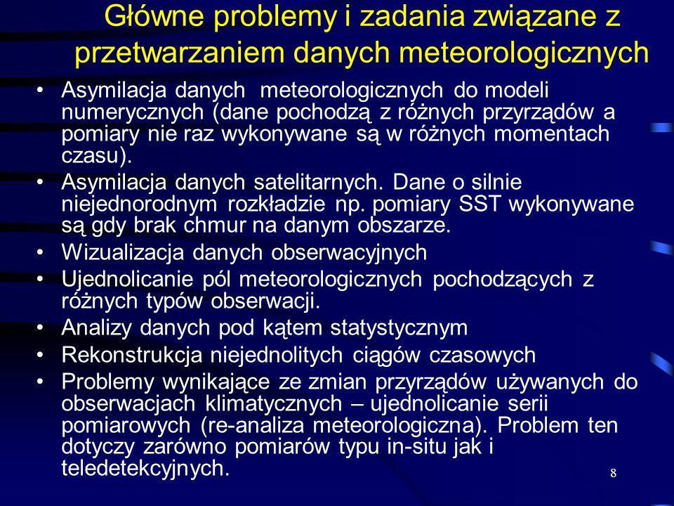 Główne problemy i zadania związane z przetwarzaniem danych meteorologicznych