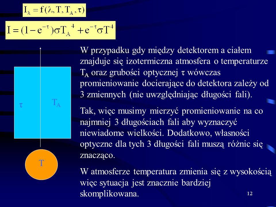 W przypadku gdy między detektorem a ciałem znajduje się izotermiczna atmosfera o temperaturze TA oraz grubości optycznej τ wówczas promieniowanie docierające do detektora zależy od 3 zmiennych (nie uwzględniając długości fali).