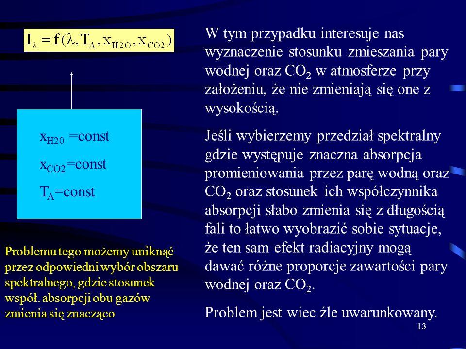 Problem jest wiec źle uwarunkowany. xH20 =const xCO2=const TA=const