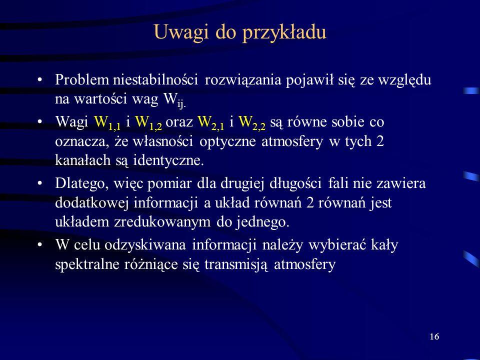 Uwagi do przykładu Problem niestabilności rozwiązania pojawił się ze względu na wartości wag Wij.
