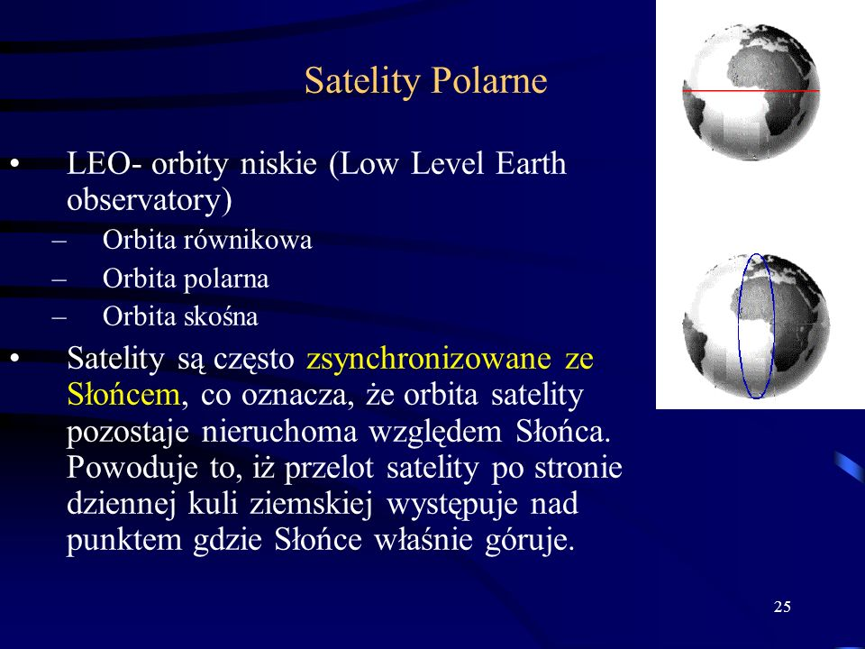 Satelity Polarne LEO- orbity niskie (Low Level Earth observatory)