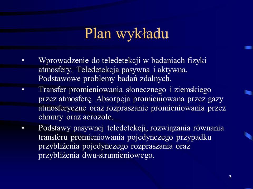 Plan wykładu Wprowadzenie do teledetekcji w badaniach fizyki atmosfery. Teledetekcja pasywna i aktywna. Podstawowe problemy badań zdalnych.