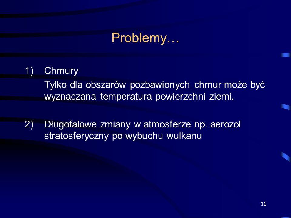 Problemy… Chmury. Tylko dla obszarów pozbawionych chmur może być wyznaczana temperatura powierzchni ziemi.