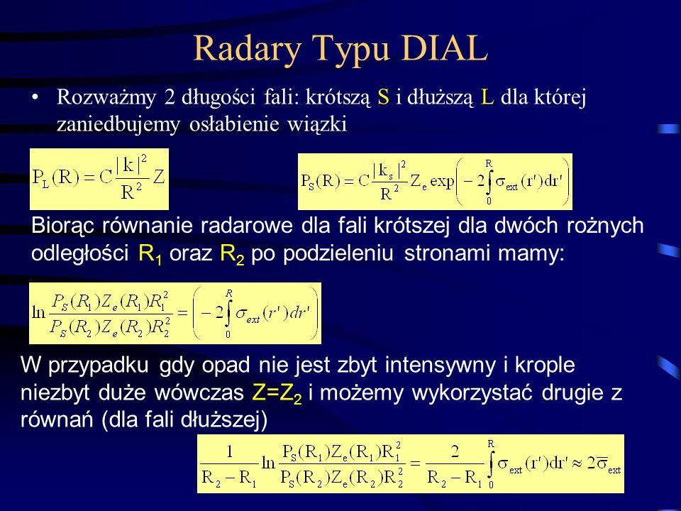 Radary Typu DIAL Rozważmy 2 długości fali: krótszą S i dłuższą L dla której zaniedbujemy osłabienie wiązki.