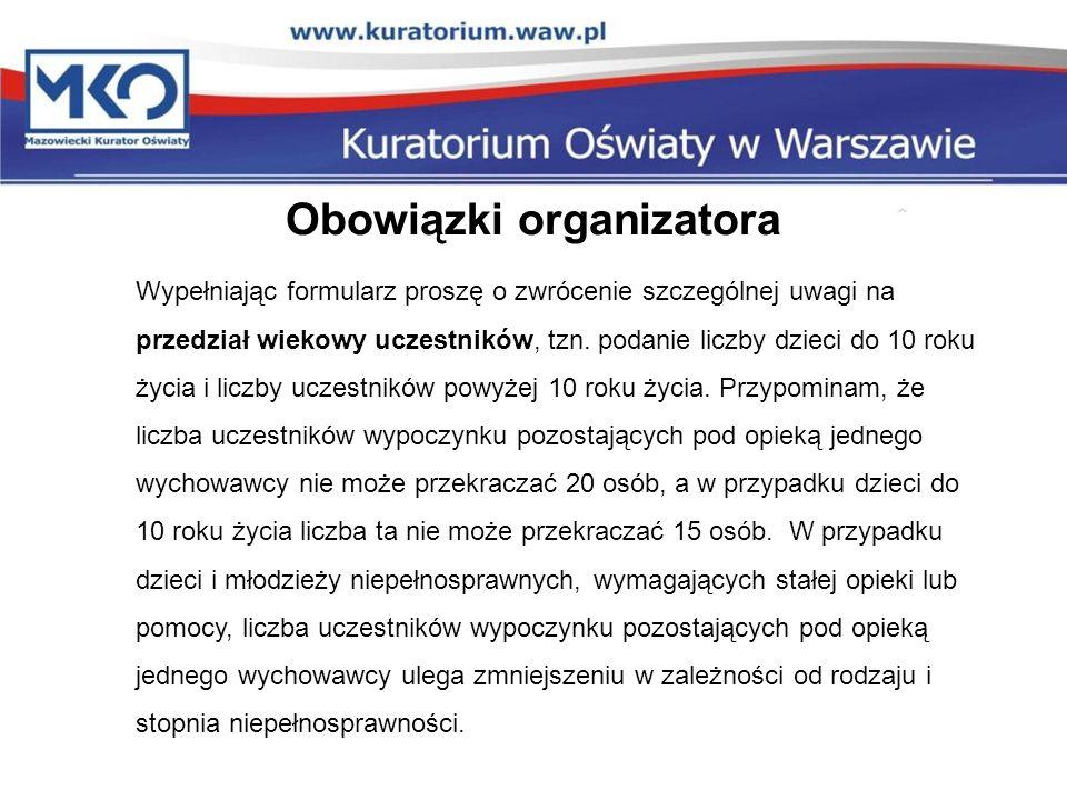 Obowiązki organizatora