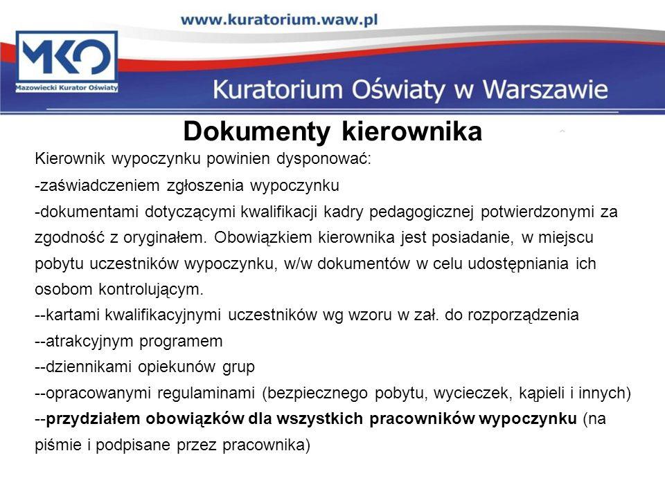 Dokumenty kierownika Kierownik wypoczynku powinien dysponować: