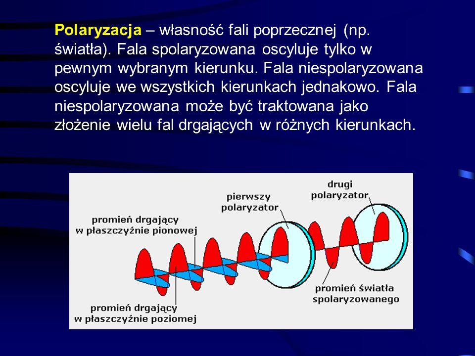 Polaryzacja – własność fali poprzecznej (np. światła)