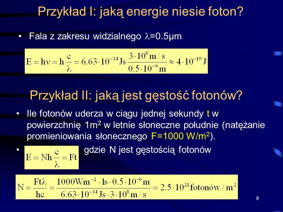 Przykład I: jaką energie niesie foton