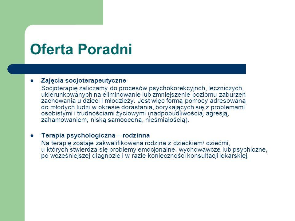 Oferta Poradni Zajęcia socjoterapeutyczne