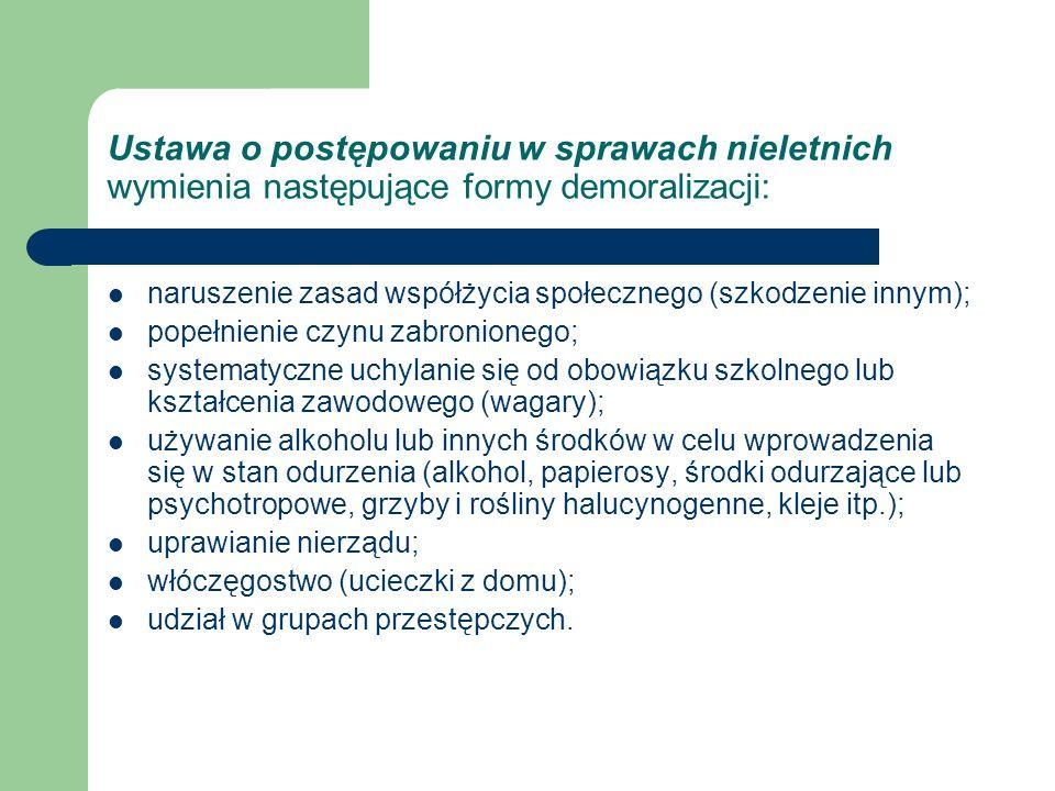 Ustawa o postępowaniu w sprawach nieletnich wymienia następujące formy demoralizacji: