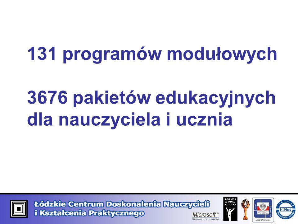 131 programów modułowych 3676 pakietów edukacyjnych dla nauczyciela i ucznia