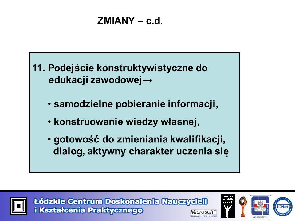 ZMIANY – c.d. 11. Podejście konstruktywistyczne do edukacji zawodowej→ samodzielne pobieranie informacji,
