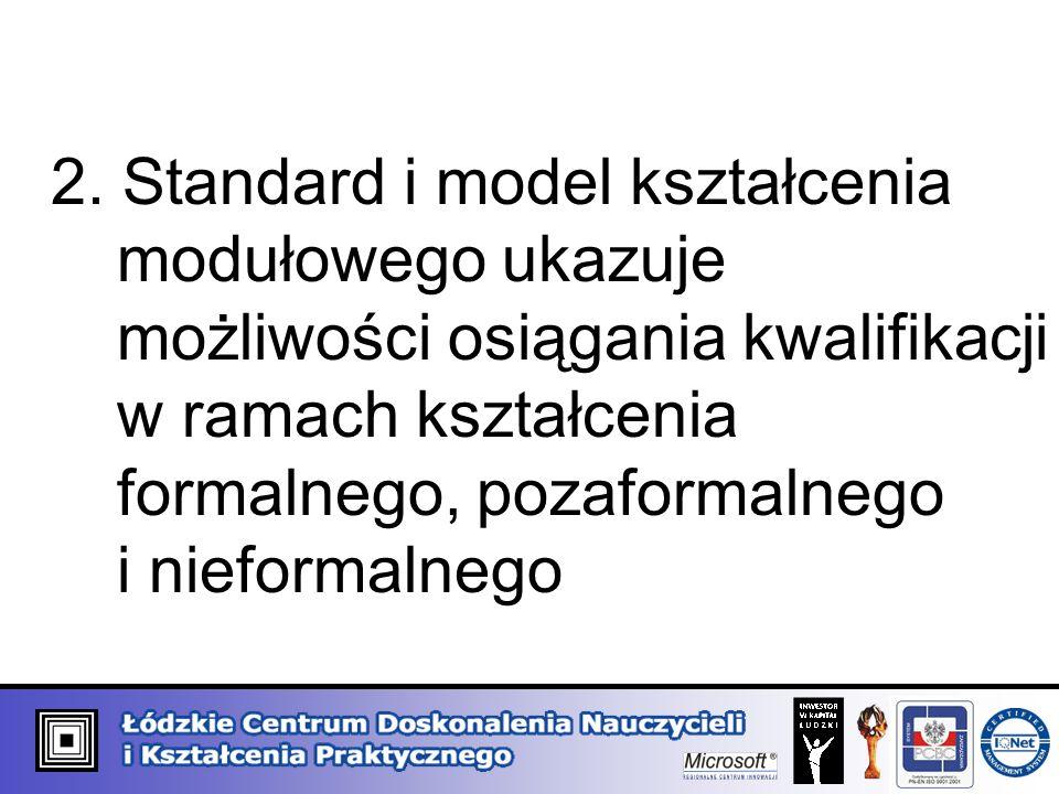2. Standard i model kształcenia. modułowego ukazuje