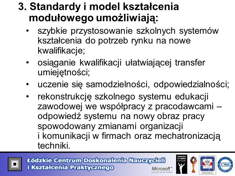 3. Standardy i model kształcenia modułowego umożliwiają: