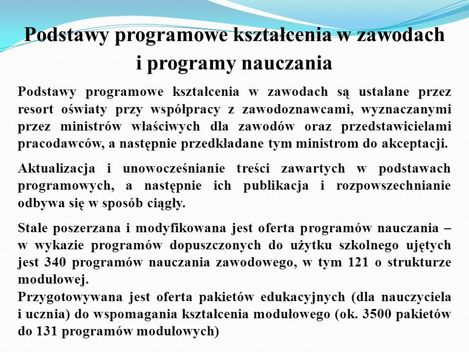 Podstawy programowe kształcenia w zawodach i programy nauczania