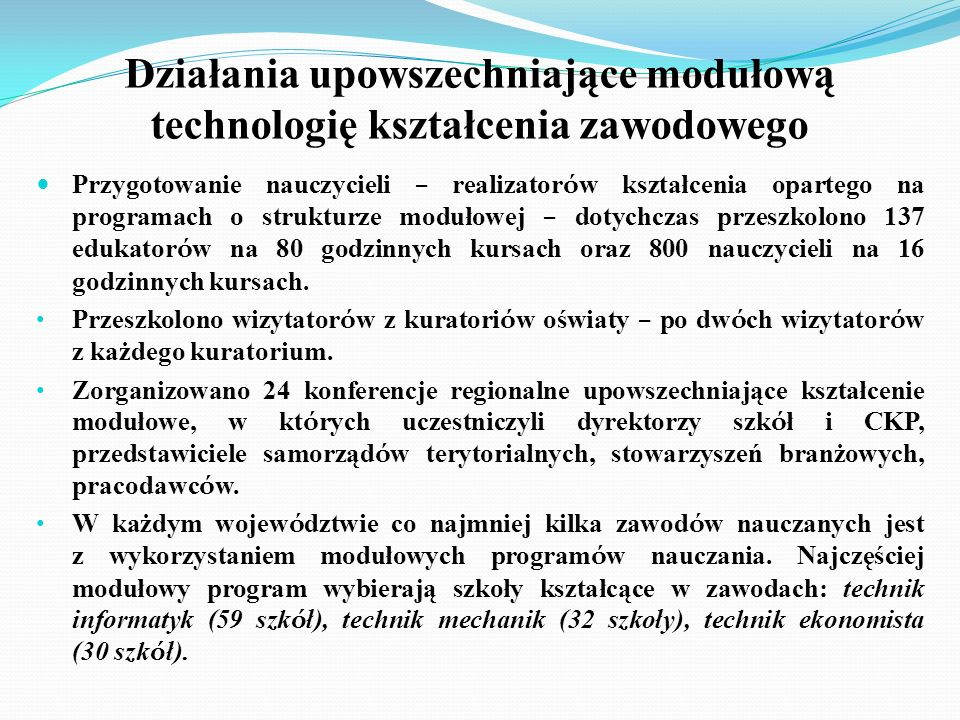 Działania upowszechniające modułową technologię kształcenia zawodowego