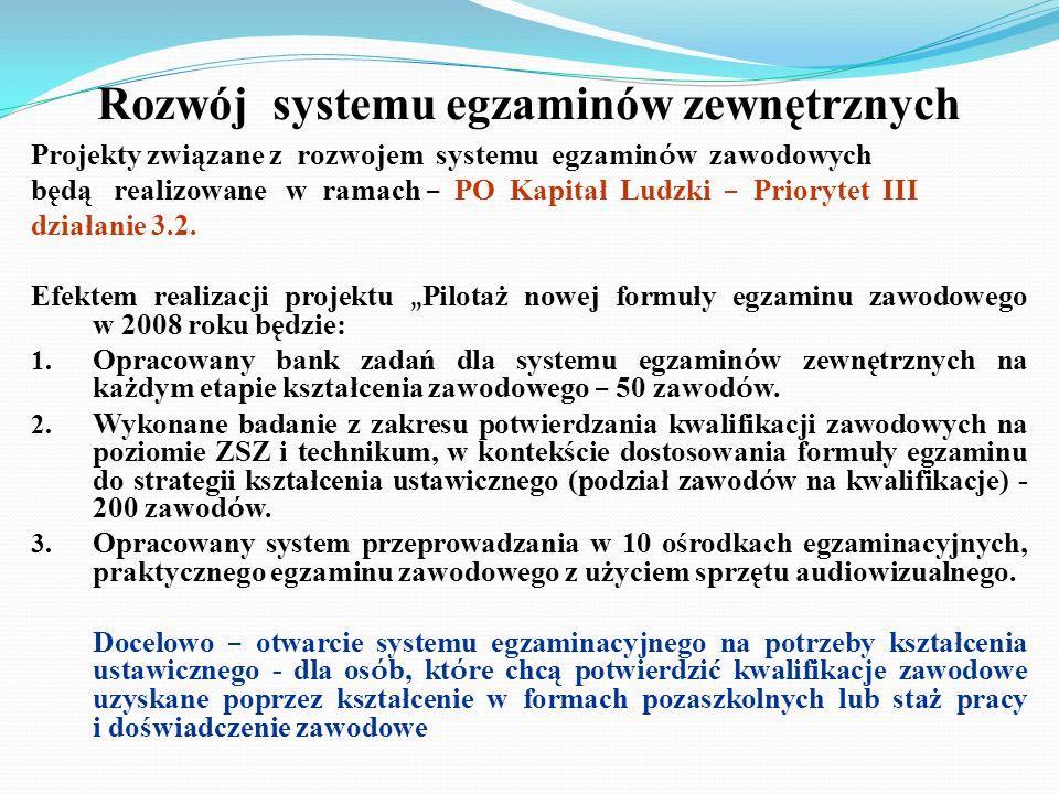 Rozwój systemu egzaminów zewnętrznych