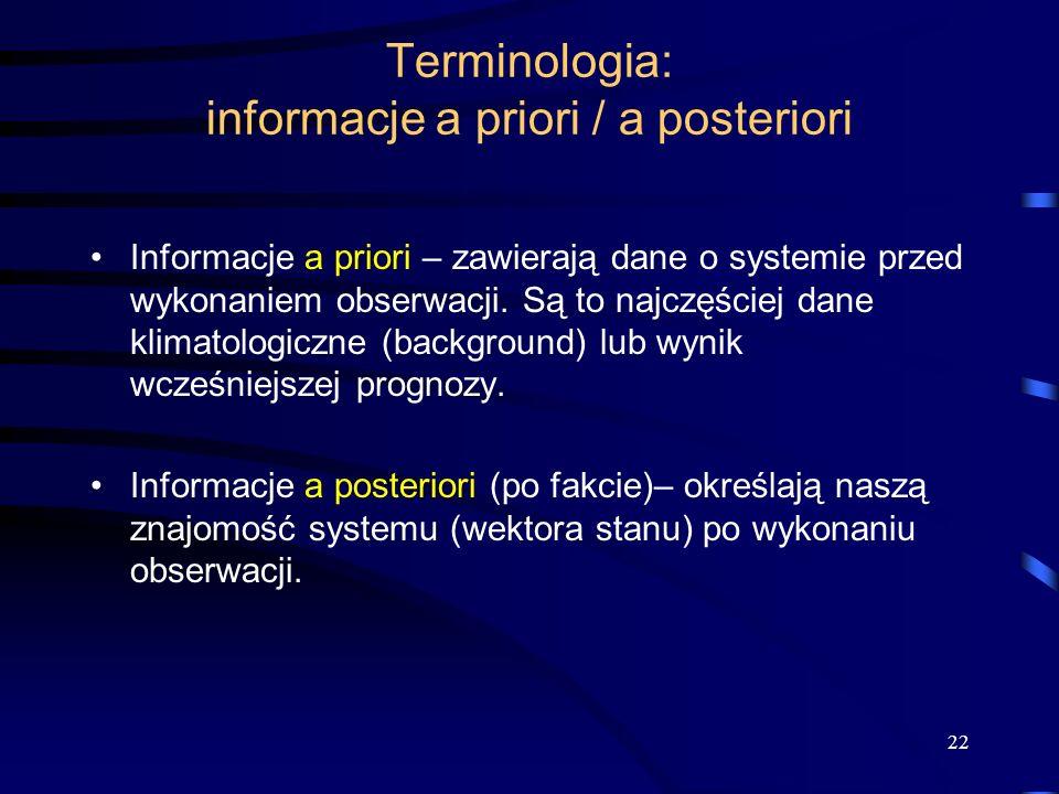 Terminologia: informacje a priori / a posteriori
