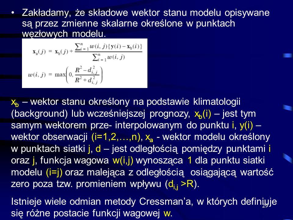 Zakładamy, że składowe wektor stanu modelu opisywane są przez zmienne skalarne określone w punktach węzłowych modelu.