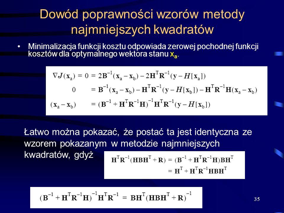 Dowód poprawności wzorów metody najmniejszych kwadratów
