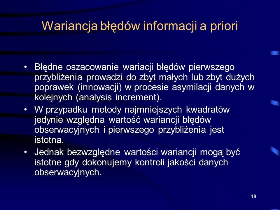 Wariancja błędów informacji a priori