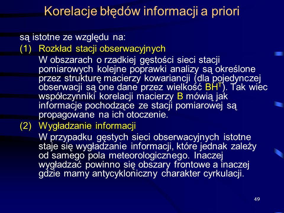 Korelacje błędów informacji a priori
