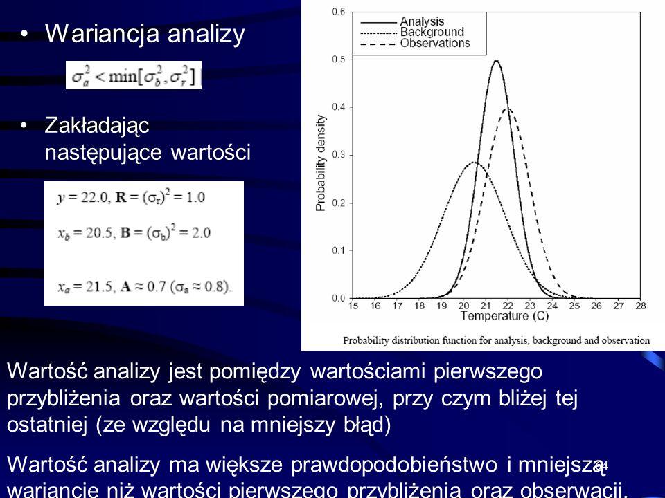 Wariancja analizy Zakładając następujące wartości