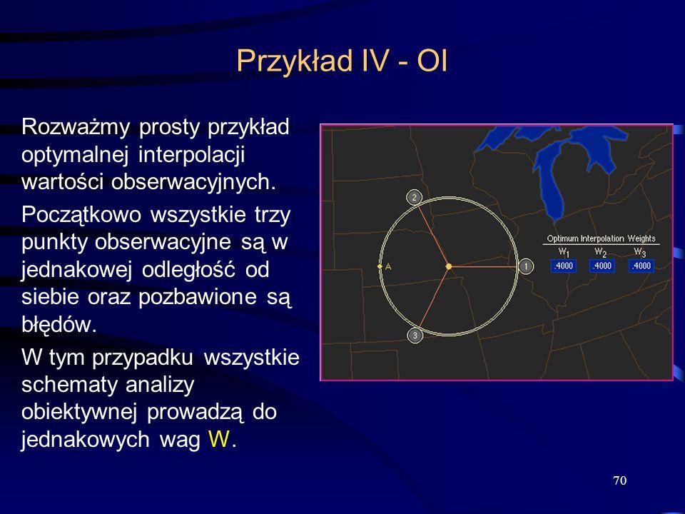 Przykład IV - OI Rozważmy prosty przykład optymalnej interpolacji wartości obserwacyjnych.
