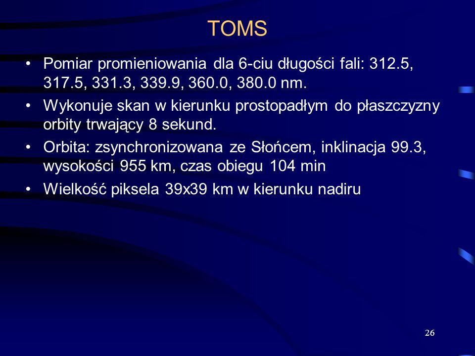 TOMS Pomiar promieniowania dla 6-ciu długości fali: 312.5, 317.5, 331.3, 339.9, 360.0, 380.0 nm.