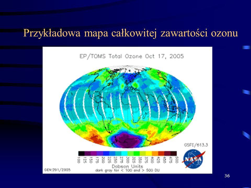 Przykładowa mapa całkowitej zawartości ozonu