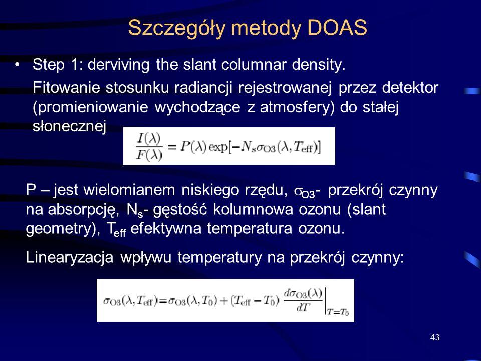 Szczegóły metody DOAS Step 1: derviving the slant columnar density.