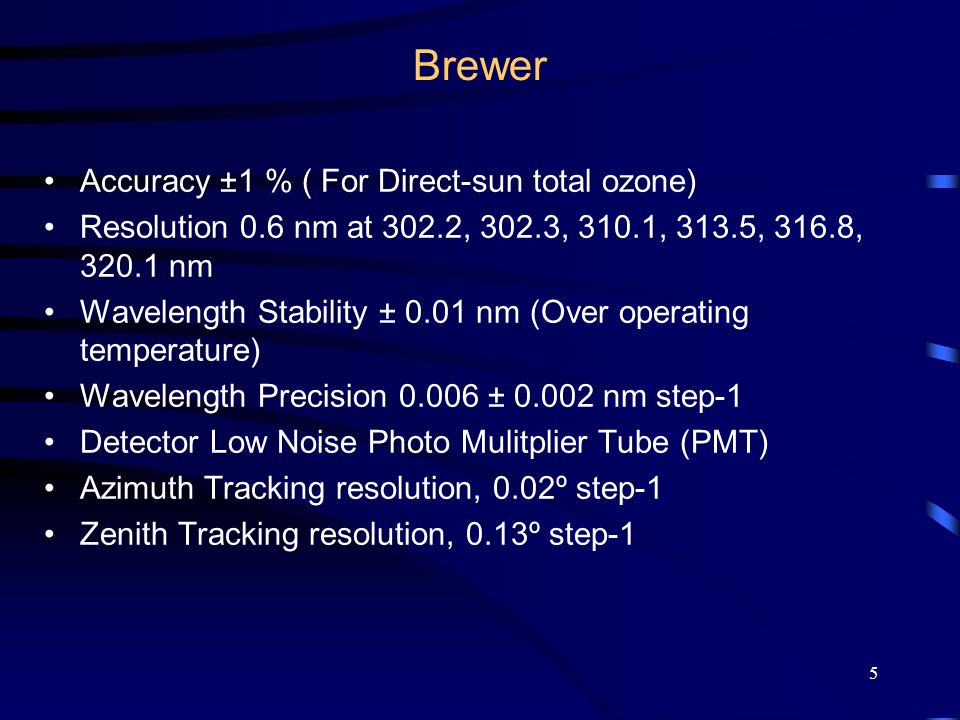 Brewer Accuracy ±1 % ( For Direct-sun total ozone)