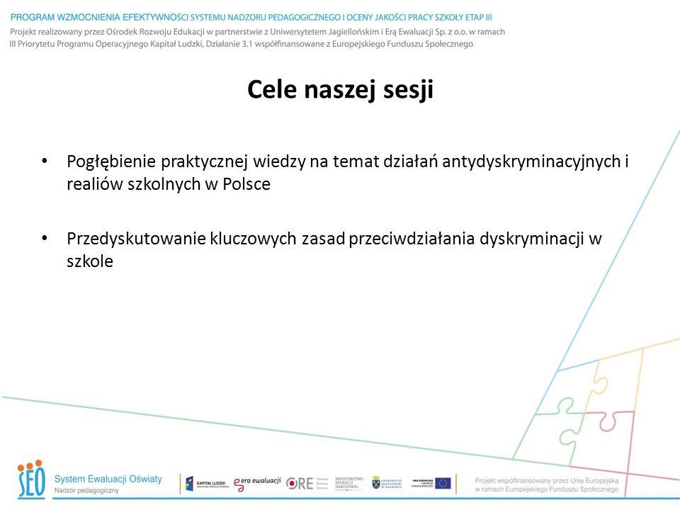Cele naszej sesji Pogłębienie praktycznej wiedzy na temat działań antydyskryminacyjnych i realiów szkolnych w Polsce.
