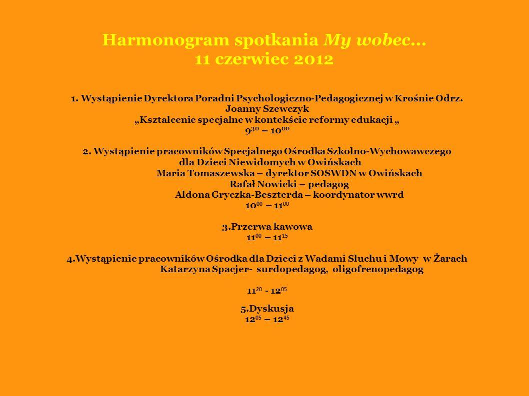 Harmonogram spotkania My wobec... 11 czerwiec 2012