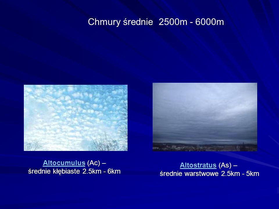 Chmury średnie 2500m - 6000m Altocumulus (Ac) – Altostratus (As) –
