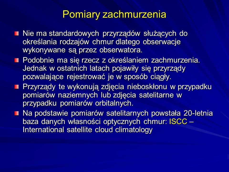 Pomiary zachmurzenia Nie ma standardowych przyrządów służących do określania rodzajów chmur dlatego obserwacje wykonywane są przez obserwatora.